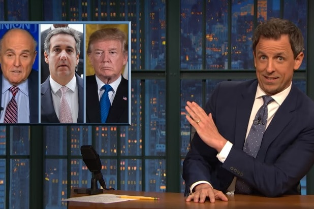 late night with seth meyers donald trump replacing corrupt washington politics with corrupt new york politics michael cohen rudy giuliani