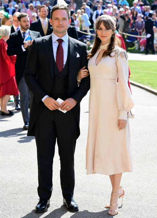 Patrick J. Adams and wife Troian Bellisario arrive at St George's Chapel at Windsor Castle before the wedding of Prince Harry to Meghan Markle