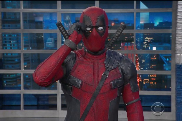 the late show wiht stephen colbert deadpool wears stephen's glasses