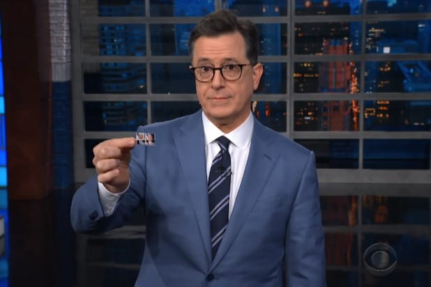 the late show with stephen colbert tiny pictures of donald trump and mike pence for the post office