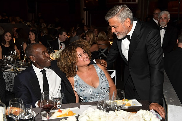 Don Cheadle, Bridgid Coulter, and honoree George Clooney