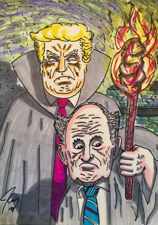 Jim Carrey artwork trump rudy