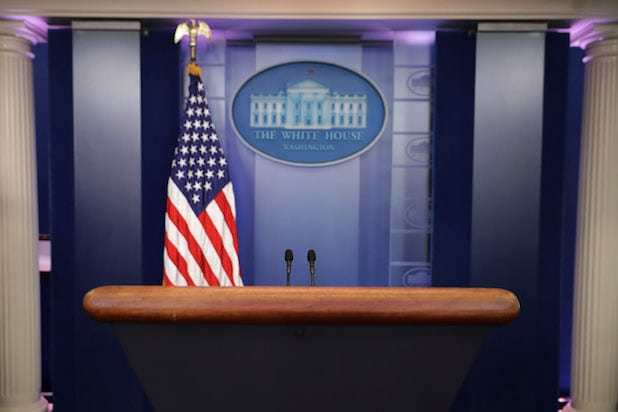WASHINGTON, DC - JULY 21: The lecturn in the White House Brady Press Briefing Room is unoccupied after it was learned that Press Secretary Sean Spicer has resigned July 21, 2017 in Washington, DC. Reports say that Spicer quit after disagreeing with President Donald Trump's decision to hire Anthony Scaramucci, a Wall Street financier and longtime supporter, to the position of White House communications director. (Photo by Chip Somodevilla/Getty Images)