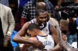 Kevin Durant and Steph Curry Hug