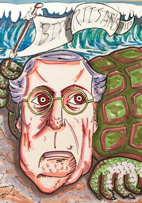 Jim Carrey artwork Mitch McConnell