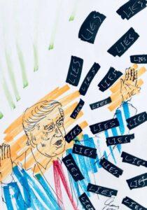 Jim Carrey artwork Trump lies