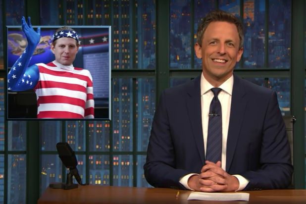 late night with seth meyers eric trump dressed as american flag donald trump hugged him