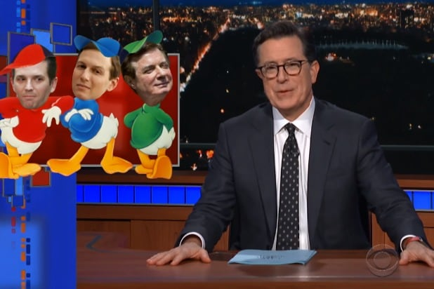 the late show with stephen colbert huey dewey and colludy donald jr jared kushner paul manafort