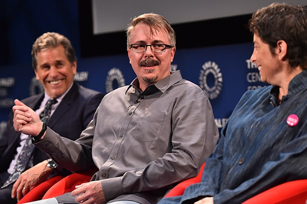 Tim Matheson, Vince Gilligan and Carolyn Strauss