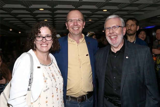 Karen Needham, IMDb Founder and CEO Col Needham and Leonard Maltin