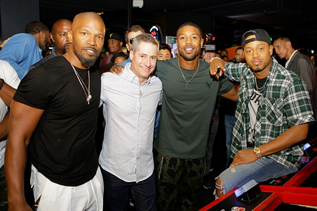 Jamie Foxx, Adam Selkowitz, Michael B. Jordan and Terrence J attend Lupus LA's MBJAM