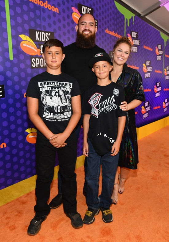 WWE wrestler Ronda Rousey and mixed martial artist Travis Browne Nickelodeon Kids' Choice Sports 2018 - Red Carpet