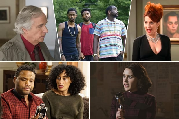 "emmy predictions comedy Clockwise from top right: ""Barry,"" ""Atlanta,"" ""Will & Grace,"" ""The Marvelous Mrs. Maisel,"" ""black-ish"""