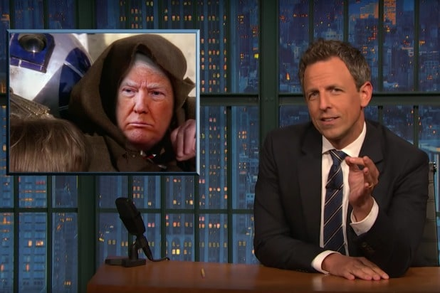 late night with seth meyers trump is a really shitty jedi