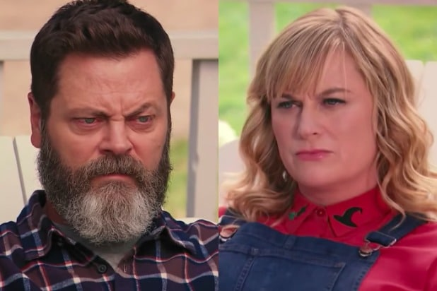 watch amy poehler nick offerman s crafting pun off video. Black Bedroom Furniture Sets. Home Design Ideas