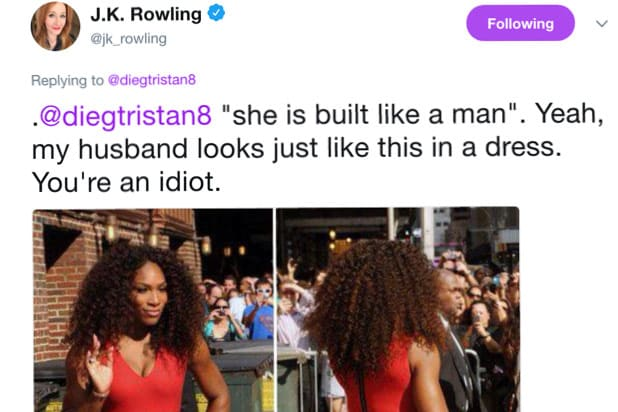 serena williams JK Rowling tweet