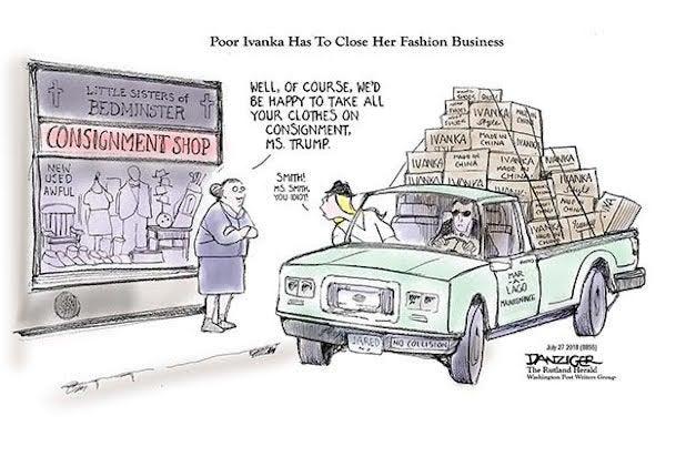 Ivanka Trump, Jared, Ivanka Fashion, consignment, political cartoon