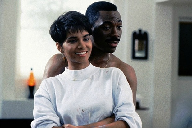 Halle Berry and Eddie Murphy in the 1988 romantic comedy Boomerang.