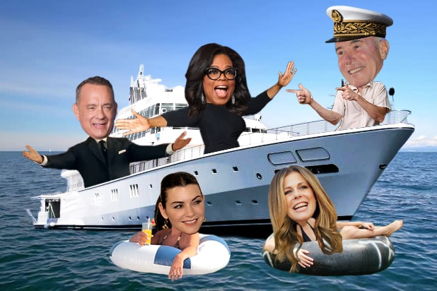 Oprah moguls on a boat tom hanks rita wilson david geffen