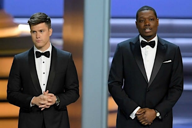 Colin Jost Michael Che 70th Emmys 2018