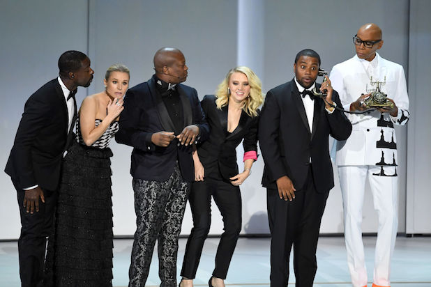 70th Emmys Sterling K. Brown, Kristen Bell, Tituss Burgess, Kate McKinnon, Kenan Thompson, and RuPaul 2018