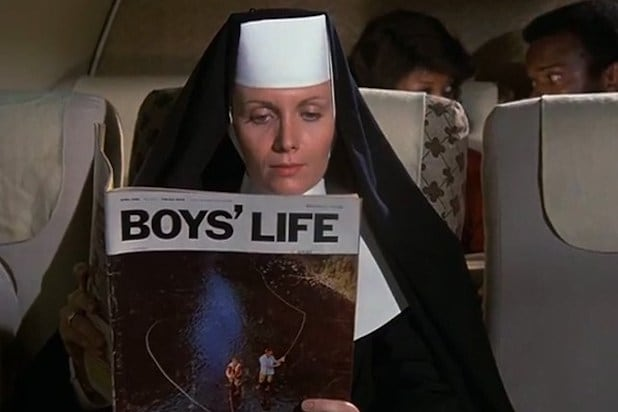 Nun reading Boys Life Airplane!