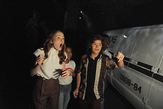 Sadie Sink, Priah Ferguson and Gaten Matarazzo Stranger Things Maze Halloween Horror Nights