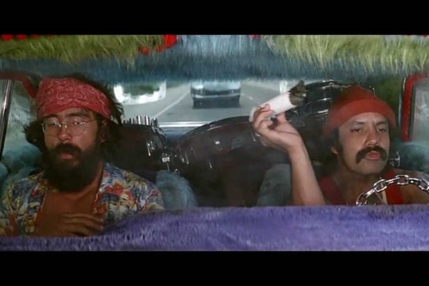 its 1978 and cheech and chong are rolling down the california highway in their low rider love machine in a scene from their first movie up in smoke