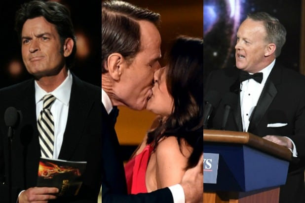 15 Unforgettable Emmy Moments, From Charlie Sheen's Cool Conduct to Sean Spicer's Sketch (Photos)