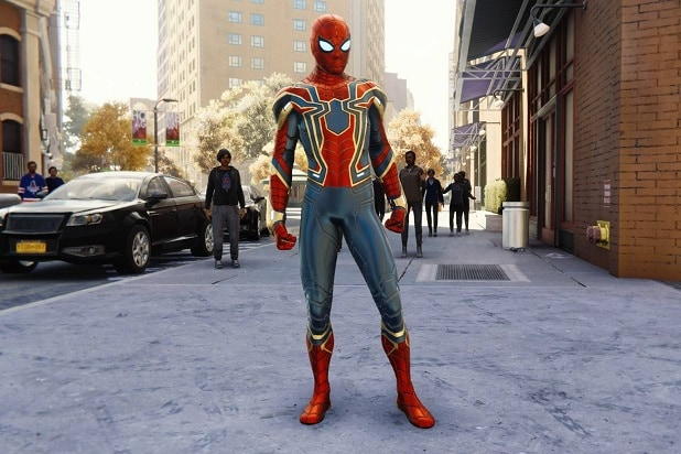 marvel's spider-man ps4 iron spider suit standing avengers infinity war
