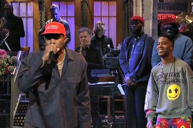 e84b7a85 Kanye West Wears MAGA Hat During Final Song Performance on SNL