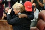 Kanye West hugging Donald Trump