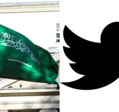 Saudi Arabian flag at Embassy in London Twitter