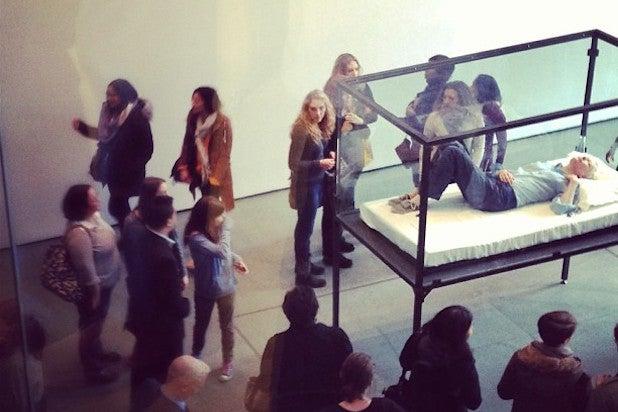 Tilda Swinton Sleeping MoMA