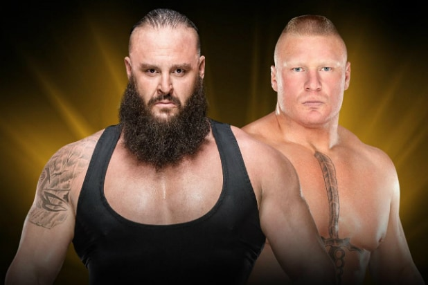 wwe crown jewel brock lesnar f 5 braun strowman out of the ring