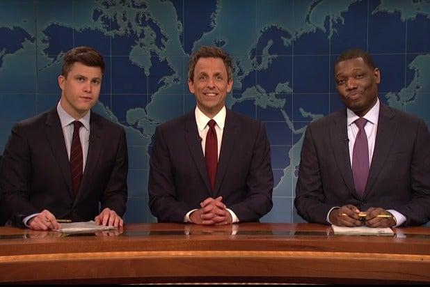 Seth Meyers Returns to 'SNL' Weekend Update, Colin Jost Blames Him for Trump Presidency (Video)