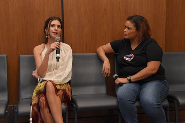 power women summit Model and activist Emily Ratajkowski (left) with Crystal Patterson