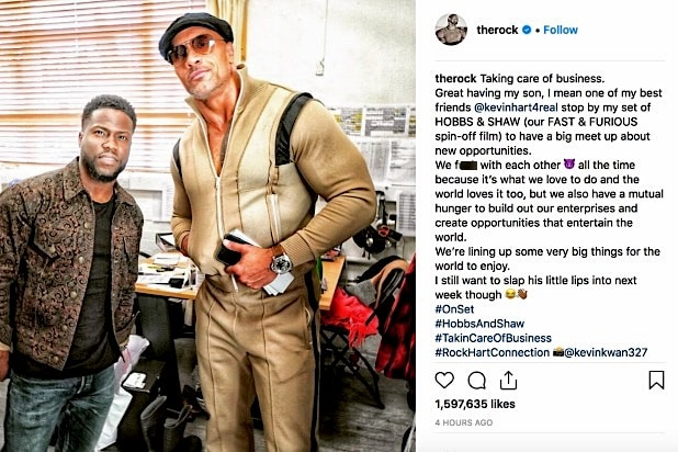 Kevin Hart Dwayne Johnson The Rock Instagram