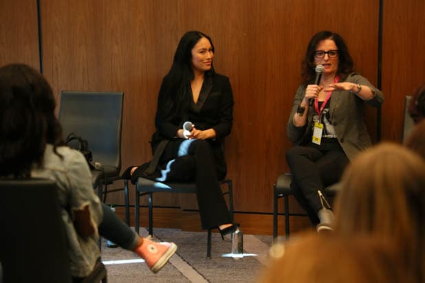 "Stephanie Shepherd and Claudia Carasso talk during the breakout session ""Betting On Yourself"""