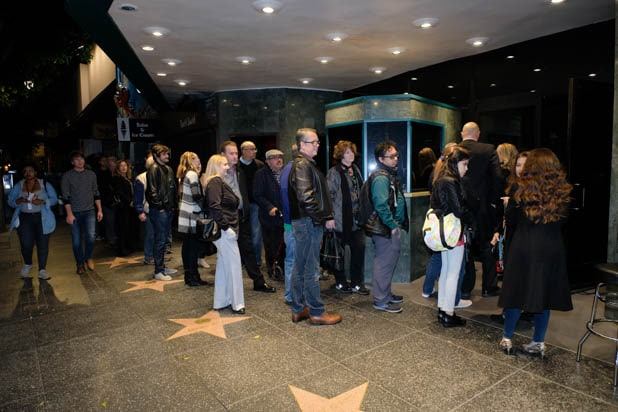 Long line outside the Dolby Screening Room Hollywood Vine