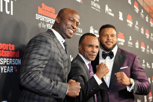 Akbar Gbaja-Biamila, Sugar Ray Leonard and Aaron Donald Sports Illustrated 2018