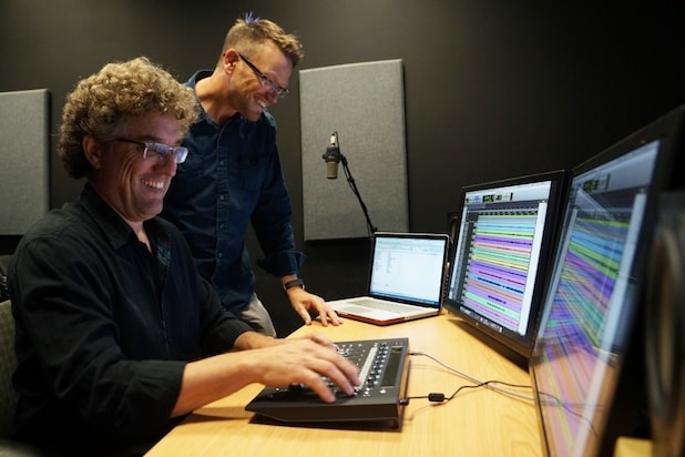 Sven Holcomb and Chris Jenkins in the UCSB Lazarus Sound Lab