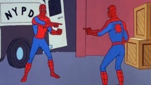 spider-man pointing meme spider-man into the spider-verse miguel ohara oscar isaac