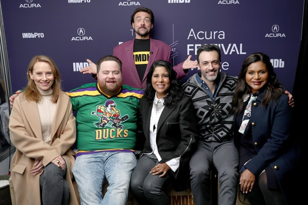 PARK CITY, UT - JANUARY 25: (L-R) Amy Ryan, Paul Walter Hauser, Nisha Gantra, Reid Scott, and Mindy Kaling of 'Late Night' and Kevin Smith attend The IMDb Studio at Acura Festival Village on location at the 2019 Sundance Film Festival - Day 1 on January 25, 2019 in Park City, Utah.