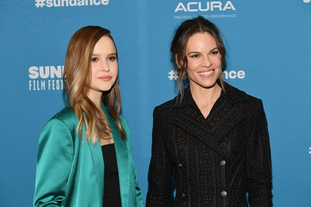 "PARK CITY, UT - JANUARY 25: Clara Rugaard and Hilary Swank attend the ""I Am Mother"" Premiere during the 2019 Sundance Film Festival at Eccles Center Theatre on January 25, 2019 in Park City, Utah. (Photo by Dia Dipasupil/Getty Images)"