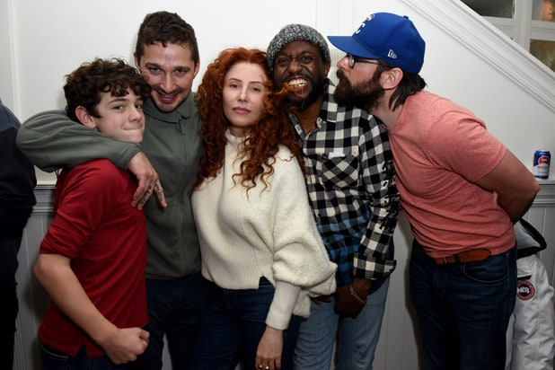 PARK CITY, UTAH - JANUARY 25: (L-R) Noah Jupe, Shia LaBeouf, Alma Har'el, Byron Bowers, and Martin Starr at the Honey Boy party at DIRECTV Lodge presented by AT&T at Sundance Film Festival 2019 on January 25, 2019 in Park City, Utah. (