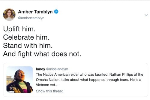Amber Tamblyn Twitter Native American Rally