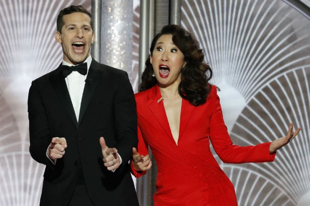 Andy Samberg and Sandra Oh host the Golden Globes