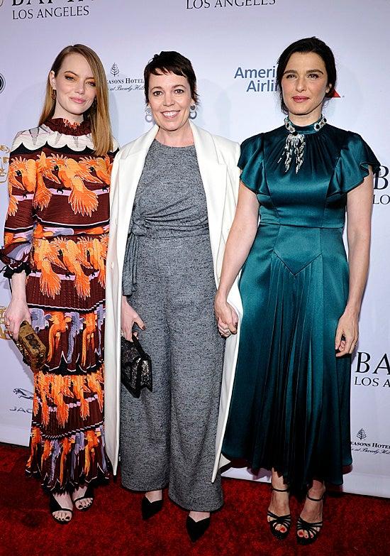 Emma Stone, Olivia Colman, Rachel Weisz BAFTA Tea Party