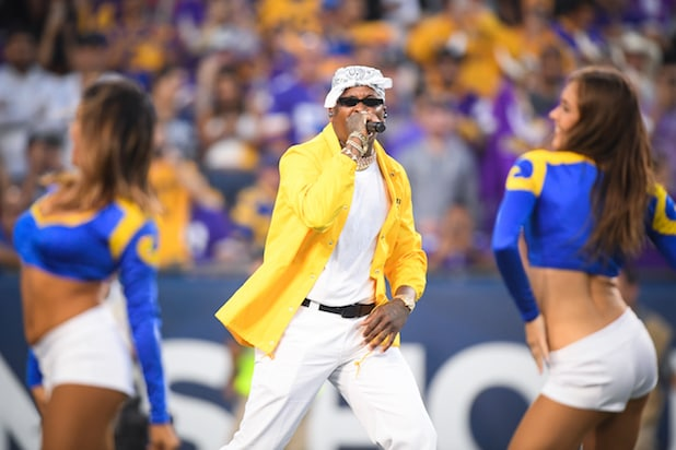Rapper YG performs at the Los Angeles Rams game against the Minnesota Vikings at Los Angeles Memorial Coliseum on September 27, 2018 in Los Angeles, California.